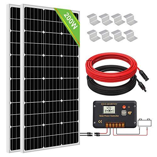 ECO-WORTHY 200 Watt (2pcs 100 Watt) Panel solar monocristalino Kit completo fuera de la red con controlador de carga LCD + Cables solares + Soportes de montaje para barcos Cobertizo para acampar