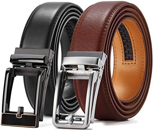 Leather Ratchet Dress Belt 2 Pack 1 3/8', Chaoren Click AdjustableBelt Comfort with Slide Buckle, Trim to Exact Fit