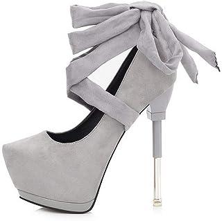 Ying-xinguang Shoes Fashion Platform Single Shoes with Cross Strap High Heels Women's High Heel Comfortable
