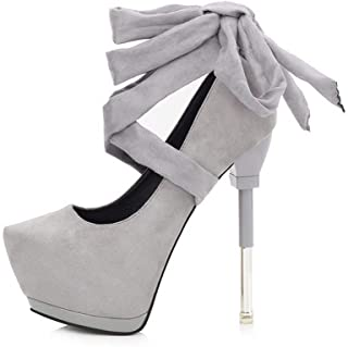 Ying-xinguang Shoes Fashion Platform Single Shoes with Cross Strap High Heels Women's High Heel Comfortable