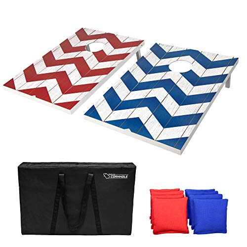 GoSports Chevron Design Cornhole Game Set - Includes Two 3'x2' Boards, 8 Bean Bags and Carry Case, Red/Blue/Chevron