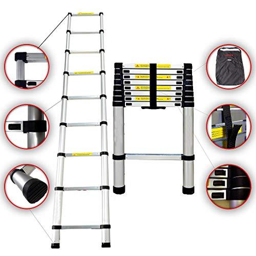 Sotech - Klappleiter, Teleskopleiter, 2,6 Meter, GRATIS Tragetasche, EN 131, Maximale Belastbarkeit: 150 kg, Standard/Zertifizierung: EN131