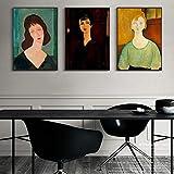 UIOLK Divertido Retro Vintage Mujer Retrato Abstracto Lienzo Pintura Famosos Carteles de Arte de Pared e imágenes Impresas de decoración de la casa