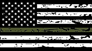 Thin Green Line Tattered US Flag Decal. 3M Outdoor Series Highly Reflective Vinyl. Black, White & OD Green American Flag Sticker.