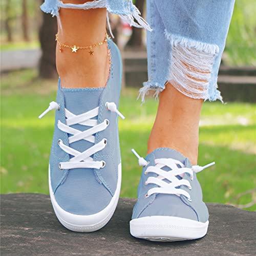 URIBAKY - Zapatillas de lona para mujer, estilo bohemio, suave, zapatos planos y transpirables, suaves y cómodos, para exteriores, fitness, senderismo, azul claro, 42 EU