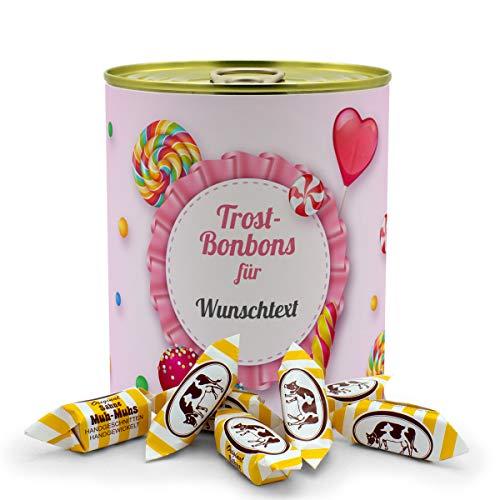 printplanet® - Konservendose mit Name oder Text selbst gestalten - Süßigkeiten-Dose - Layout Trost-Bonbon - Füllung Sahne Muh-Muhs