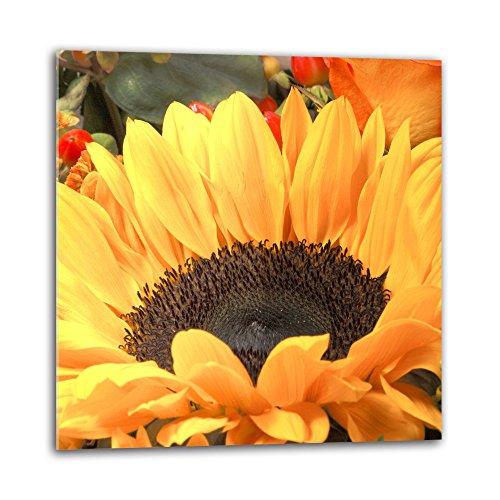Decorwelt - Paraschizzi per cucina, in vetro, 60 x 60 cm, protezione da parete, per cucina, cucina, cucina, paraspruzzi, piastrelle, specchio da cucina, vetro decorativo, girasole, giallo