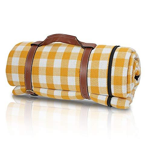 BMOT Picknickdecke wasserdichte Tragbare Faltbar Picknick-Matte Waschbare Strandmatte Wärmeisoliert Stranddecke Campingdecke mit Tragegriff für Strand, Camping, Picknick,Reise (200×200cm)