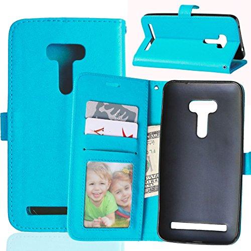 Fatcatparadise Kompatibel mit Asus ZenFone Selfie ZD551KL Hülle + Bildschirmschutz, Flip Wallet Hülle mit Kartenhalter & Magnetverschluss Halterung PU Leder Hülle handyhülle (Blau)