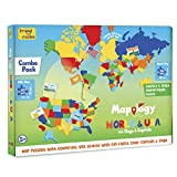 Imagimake: Mapology World and USA with Capitals- Learn World and USA States Along with Their Capitals and Fun Facts- Fun Jigsaw Puzzle- Educational Toy for Kids Above 5 Years