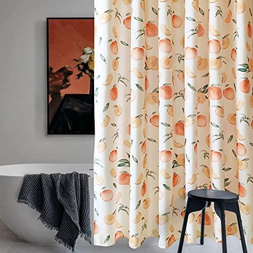 Dekorativer pfirsichfarbener Duschvorhang, 100 prozent wasserdicht, Vintage-Pfirsich-Design, Badezimmer-Dekoration, Hänge-Vorhang mit Haken, 183 x 183 cm, Hotelqualität, maschinenwaschbar (Beige)