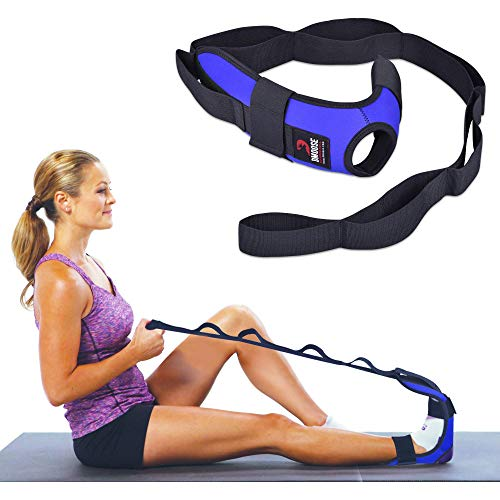 DMoose Fitness Foot and Leg Stretcher for Plantar Fasciitis, Improve Strength, Balance Stretches and Achilles Tendonitis, Stretch Loops for Hamstring, Quad, and Calf Pain Relief (Blue)