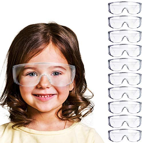 V by Vye | Clear Kids Safety Glasses | 10 Pack Small Protective Eyewear Anti-Fog Clear Safety Goggles for Children | Ships Direct from USA