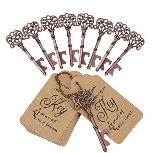 WODEGIFT 60 PCS Key Bottle OpenersVintage Skeleton Key Bottle Opener with Escort Card Tag and Key ChainsWedding Party Favor Souvenir GiftRed Copper)