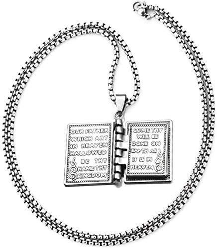 NC110 Men Women 3D Holy Bible Book With/Lord s Prayer Hand Carved Praying Cross Pendant Necklace Jewelry Gift Comes with A 24 Inch Long Chain