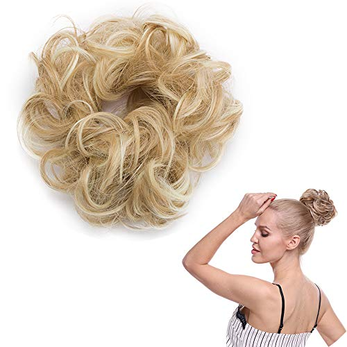 SEGO Haarteil Haargummi lockige Dutt Haarknoten Haarverlängerung unordentlicher Hochsteckfrisuren Dunkelblond &Blond #18H613