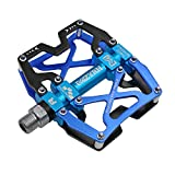MZYRH Mountain Bike Pedals, Ultra Strong Colorful CNC Machined 9/16' Cycling Sealed 3 Bearing Pedals(Black Blue 3 Bearings)