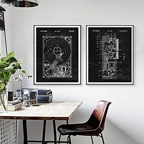 IGNIUBI Computer Blueprint Print Harddisk Patent Vintage Poster Science Gift Steampunk Art Picture Canvas Painting Office Wall Art Decor 40X60cmx4 No Frame steampunk buy now online