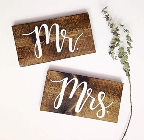 CELYCASY De heer en mevrouw Chair Signs Wood bruiloft stoel tekenen mr en mrs teken bruiloft foto prop mr en mrs tafel borden rustieke houten borden