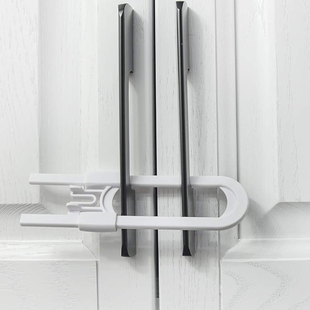4Pcs Sliding Baby Cabinet Locks, Easy for Parents, Socub U Shape Baby Proof Cabinet Latches, Handles on Kitchen, Fridge, Cabinet, Cupboard, Closet, Bathroom