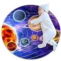 ソフトラウンドエリアラグ 70x70cm/27.6x27.6IN 滑り止めフロアサークルマット吸収性メモリースポンジスタンディングマット,太陽惑星宇宙