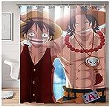 Leicht zu pflegene wasserdichte waschbare strapazierfähige Polyestergewebe Anime One Piece Monkey D. Ruffy & Portgas · D · Ace Duschvorhang für Badezimmer Badewannen 72x72in