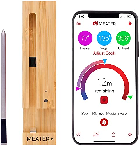 MEATER Plus | Das ultimative kabellose smarte Fleischthermometer mit 50m Reichweite | Für Ofen, Grill, Pfanne und Rotisserie | Perfekter Fleischgenuss via App