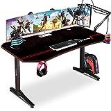 Himimi 63'' Mesa Gaming Desk, Ergonómica Grande PC Gaming Escritorios 160x74x76 cm, Computer Computadora Gamer Pro Tablas con Alfombrilla de ratón, Portavasos y Gancho para Auriculares, Mango de juego
