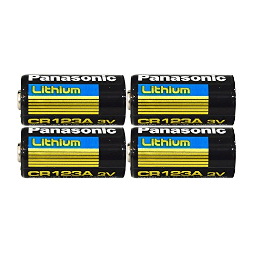 "Panasonic CR123A Lithium 3V Photo Lithium Batteries, 0.67"" Dia x 1.36"" H (17.0 mm x 34.5 mm), Black, Gold, Blue (Pack of 4)"