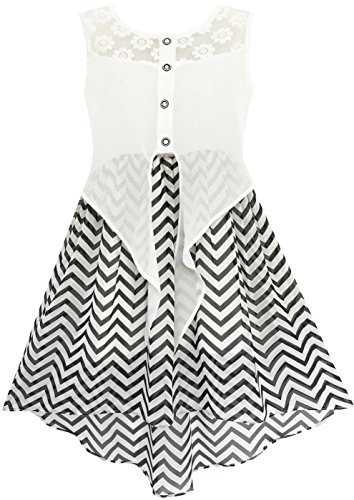 Sunny Fashion HD35 Girls Dress Lace to Chiffon Striped Black White Tied Waist Size 14