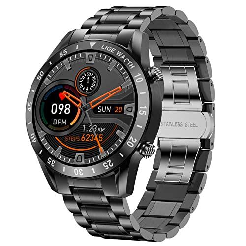 Smartwatch Herren, LIGE Fitness-Tracker mit Bluetooth-Anruf Antwort Herzfrequenz für Android-Telefone iPhone, IP67 wasserdicht Sportuhr Edelstahl 1,3