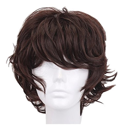 13 Inch Dark Brown Short Curly Anime Cosplay Wigs with Bang for Men Costume Halloween Party