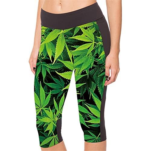 Pantalones Yoga Mujer Fitness Deportivo Pilates, Al aire libre Capris de cintura alta elevación del extremo de las mujeres imprime la hoja de 3/4 de longitud recortada polainas de Verano Yoga Pantalon