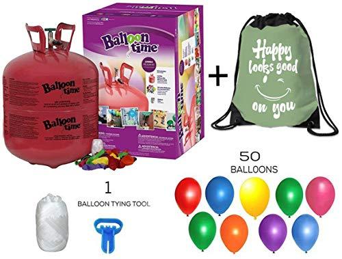 Balloon Time Disposable Helium Tank 14.9 cu.ft - 50 Latex Balloons + Balloon Tying Tool + Curling Ribbon