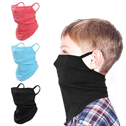 Rhino Valley Kids Neck Gaiter Face Mask, 3 Pack Face Cover Bandana Balaclava with Ear Loops, Outdoor Sport Sun Dust Wind Protection Breathable Headband Face Scarf for Boys and Girls