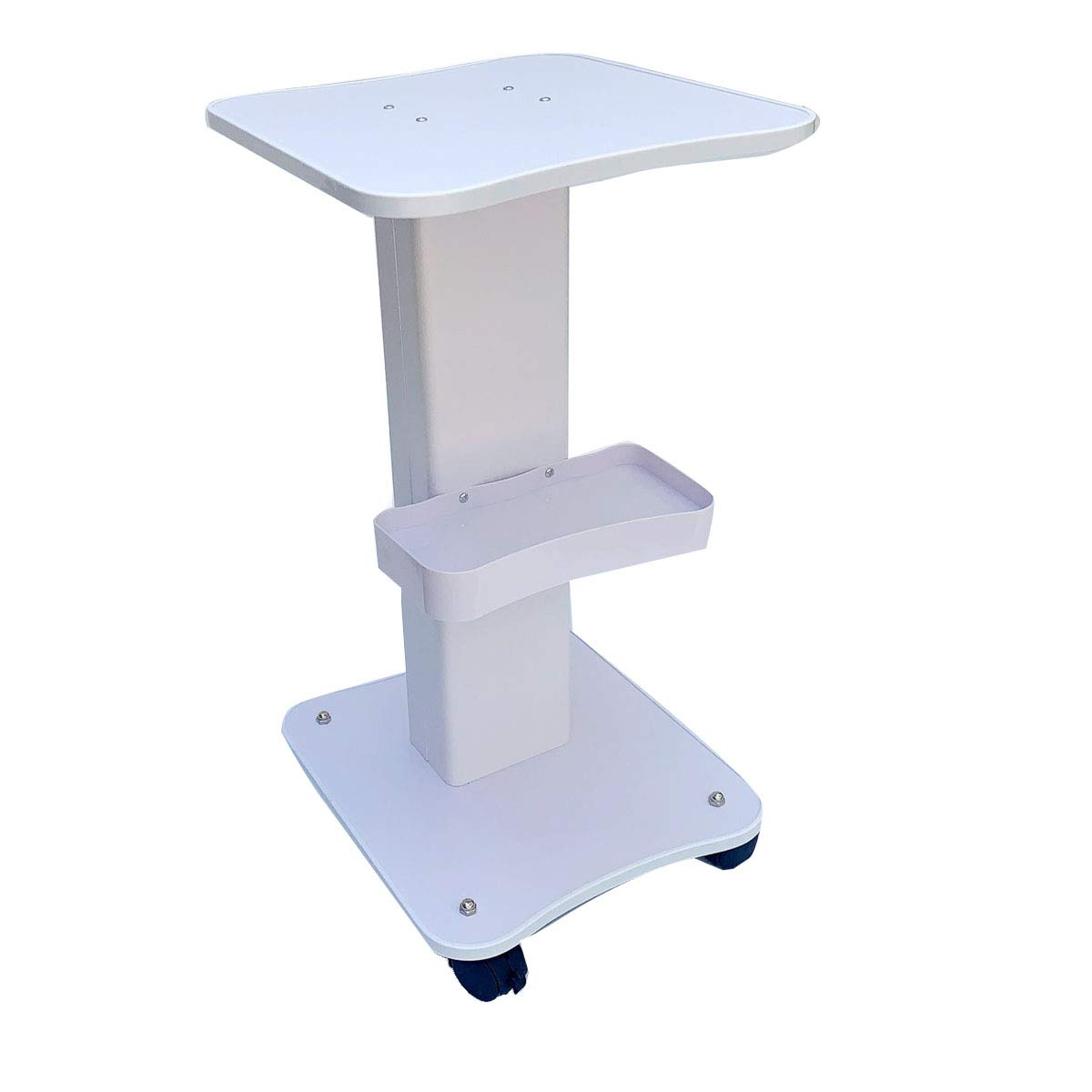 Cozyel Beauty Rolling Trolley Cart Equipment Mobile Salon Spa Service Instrument Hairdressing Storage Tray Iron Frame White