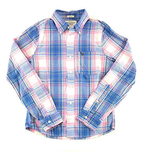 Abercrombie & Fitch Mens Long Sleeve Plaid Shirt Small White Pink Blue 0939