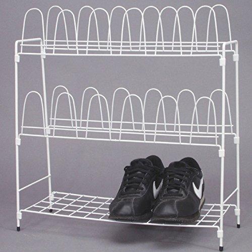 Metall Schuhregal weiß für 12 Paar Schuhe für Camping, Garten und Haushalt: Schuhschrank...