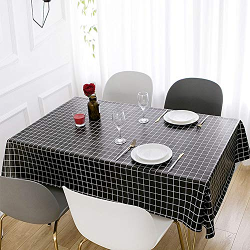 Durtail Mantel Antimanchas, Mantel de PVC impermeable,Mantel Mesa Rectangular,Para Mesa de Comedor, Resistente al Aceite, Al agua, a las Manchas, al Moho y al Agua (145 x 220 cm), Color Negro