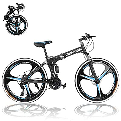 Folding Mountain Bike for Men 26 inch Adults Folding Bikes High-Carbon Steel Mountain Bike Outdoor Exercise Road Bikes with 21 Speed Dual Disc Brakes Full Suspension Non-Slip