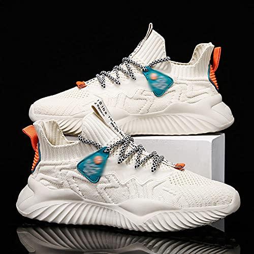 Fnho Calzado para Correr por Carretera,Zapatos de Gimnasia Zapatos Ligeros,Calzado Casual de Hombre, Zapatillas Deportivas de Tendencia-Beige_42