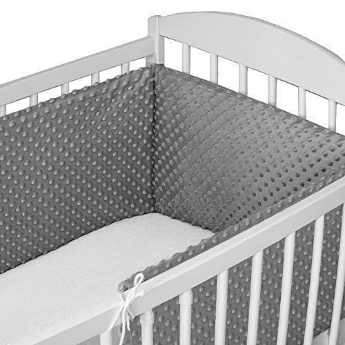 Bettumrandung Nestchen Babybett 60x120 umrandungen - babybettumrandung Bettnestchen für Kinderbett Beistellbett Gitterbett 180 x 30 cm Grau Minky
