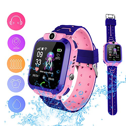 Smart Watch Phone for Kids, Waterproof Smartwatches with Tracker HD Touch Screen for kids Games SOS Alarm Clock Camera Digital Wrist Watch Smartwatch Christmas Birthday Gifts for 3-12 Boy Girls(Pink)