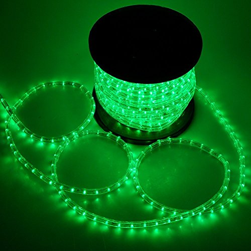 ARKSEN Flexible 150' LED Crystal Clear PVC Tubing Rope Light Party, Green