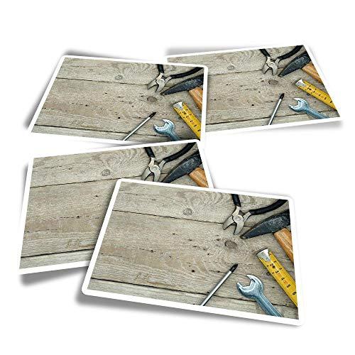 Pegatinas rectangulares de vinilo (juego de 4) – Herramientas llave martillo manitas divertidas calcomanías para portátiles, tabletas, equipaje, reserva de chatarra, frigoríficos #16454