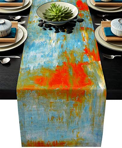 Edwiinsa Abstract Art Cotton Linen Table Runner Rectangle Plate Mat Outdoor Rug Runner for Coffee product image