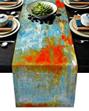 Edwiinsa Abstract Art Cotton Linen Table Runner Rectangle Plate Mat Outdoor Rug Runner for Coffee Dining Banquet Home Decor, Teal Orange Painting Artwork, 18 x 72 inch