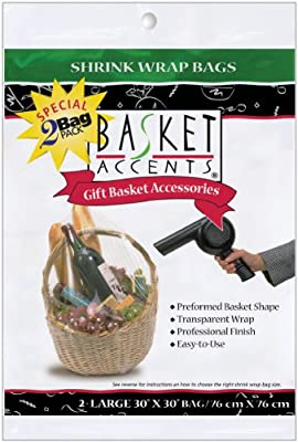 Photo Frog Basket Accents Shrink Wrap Bags (2 Per Package) - Clear