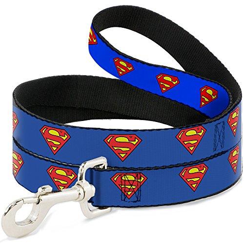 Correa para Perro Hebilla de Superman, Color Azul, Disponible en Diferentes Longitudes y anchuras para Perros y Gatos pequeños, medianos y Grandes