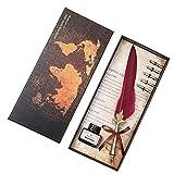 KNJF Pluma De Pluma De Caligrafía De Tinta Antigua Sello de la Hoja de Arce de la Vendimia Pluma Dip Pluma de Metal con Tinta roja Gift Set
